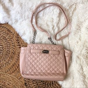 nine west baby pink quilted crossbody purse